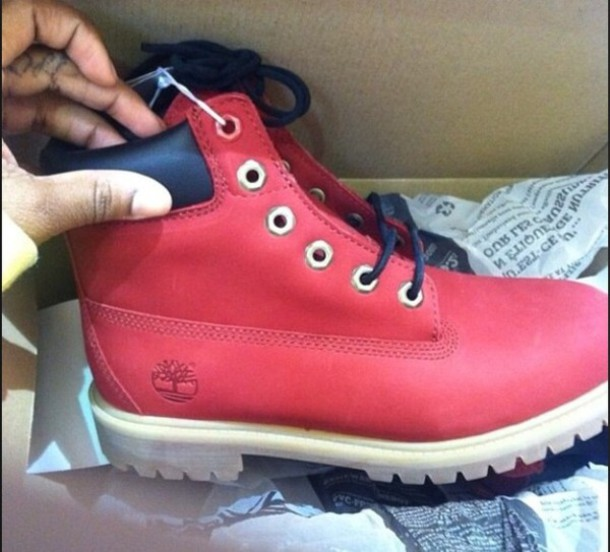 shoes red leather timberlands