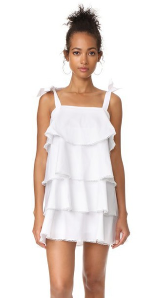 WAYF Madelyn Tiered Mini Dress in ivory
