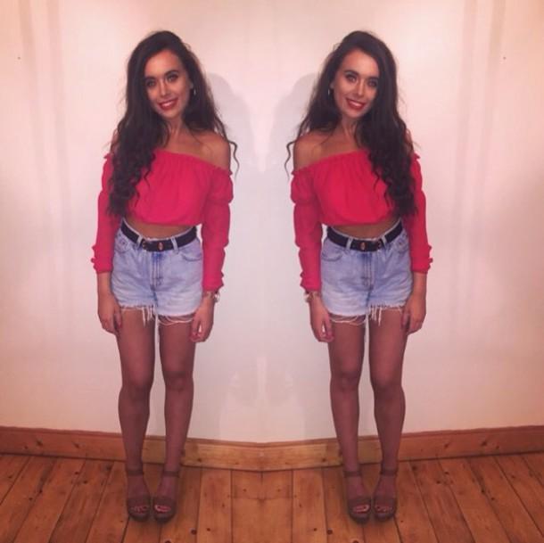 ad0ef1983d4eba top off the shoulder top red red top shorts ripped shorts summer bardot denim  shorts bardot