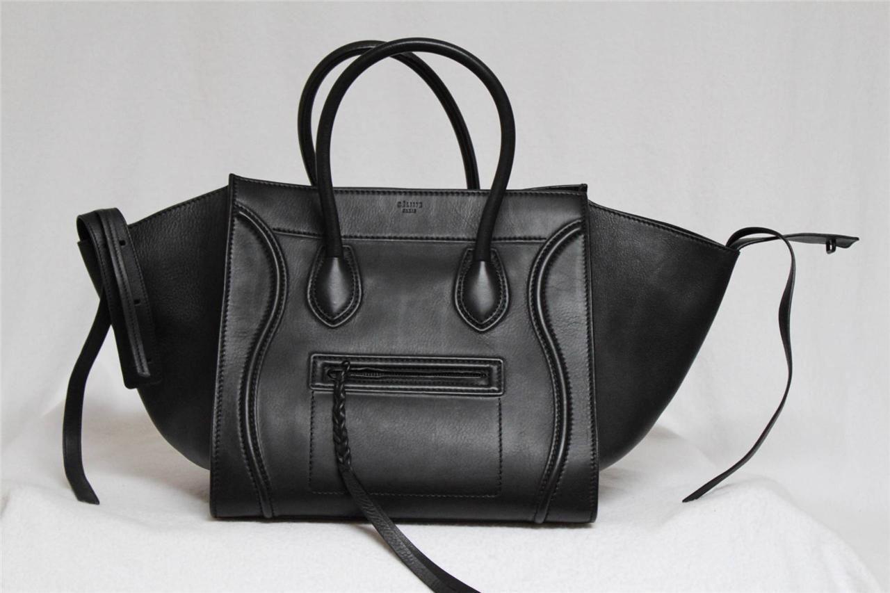 New 2014 celine black phantom luggage smooth leather medium tote bag