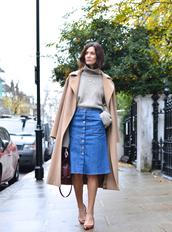 northern light,blogger,camel coat,turtleneck,denim skirt,denim slit skirt,midi skirt,blue skirt,sweater,grey sweater,turtleneck sweater,coat,pumps,mid heel pumps
