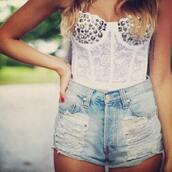 white top,tacks,lace top