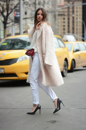 fashion vibe shoes jeans bag sweater coat