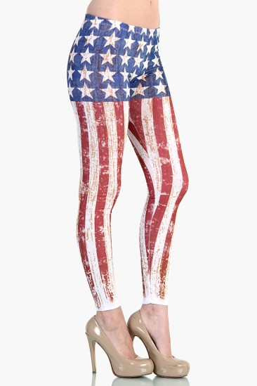 LoveMelrose.com From Harry & Molly | Vintage American Flag Leggings