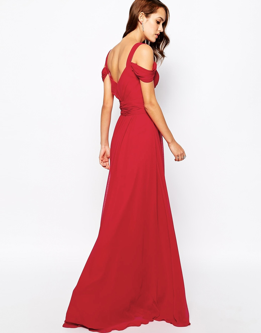 Forever Unique Sweetheart Maxi Dress with Off Shoulder at asos.com