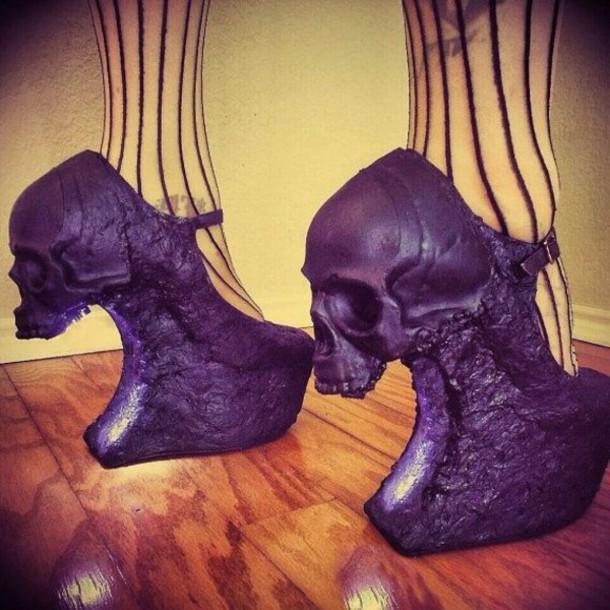 shoes black heels skull high heels platform shoes