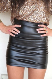 skirt,leather,sequins,new year's eve,fancy,tight,black,short,high waisted skirt,blouse,gold,rose gold,black leather skirt,sequin shirt,shirt,sparkle,leather skirt,mini skirt,faux leather,black leather mini skirt