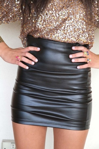 skirt leather sequins new year's eve fancy tight black short high waisted skirt blouse gold rose gold black leather skirt sequin shirt shirt sparkle leather skirt mini skirt faux leather black leather mini skirt
