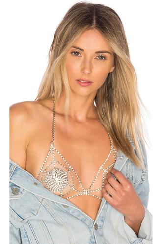 bralette metallic silver underwear