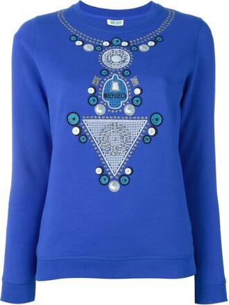 sweatshirt embroidered blue sweater