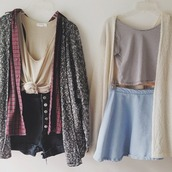 cute outfits,outfit idea,tie-front top,skater skirt,denim shorts,black shorts,red shirt,grey cardigan,striped t-shirt,cropped t-shirt,soft grunge,blouse,t-shirt,skirt,shorts,shirt,cardigan,make-up