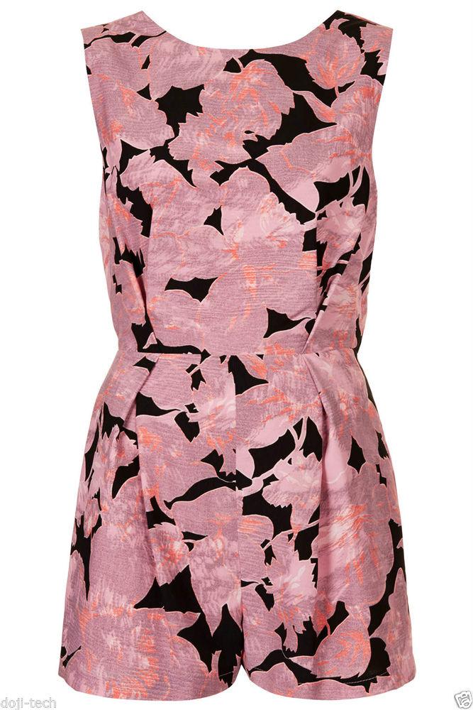 Topshop pink chateau femme print floral lace v back playsuit jumpsuit 10 38 us6