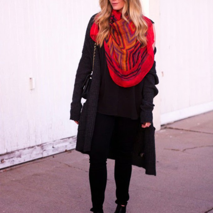 red scarf shoes shirt sweater bag pants blogger devon rachel black coat scarf red