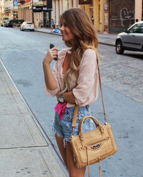 bag blouse brown bag pastels denim shorts