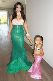 dress,costume,sexy halloween costume,halloween costume,kim kardashian,kardashians,north west,the little mermaid,mermaid,mermaid dresses,bustier
