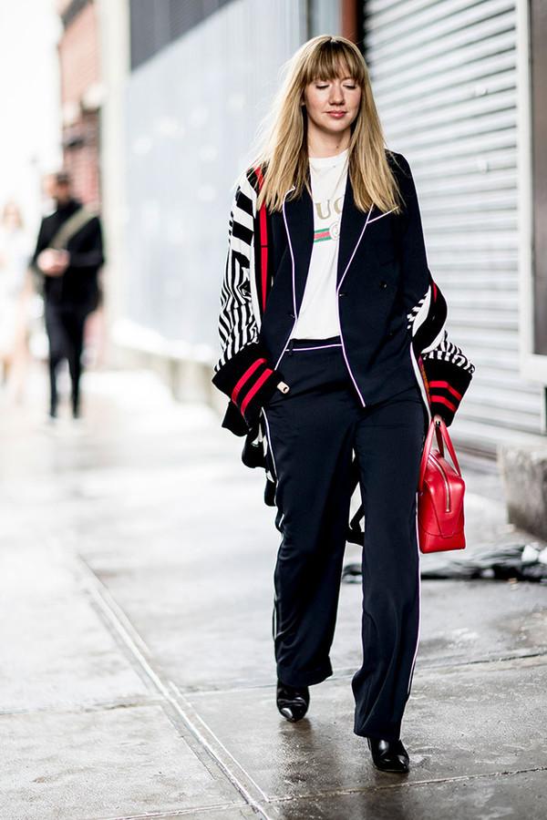 Pants Nyfw 2017 Fashion Week 2017 Fashion Week Streetstyle Black Pants Side Stripe Pants