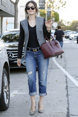 jeans boyfriend jeans jacket emmy rossum fall outfits animal print