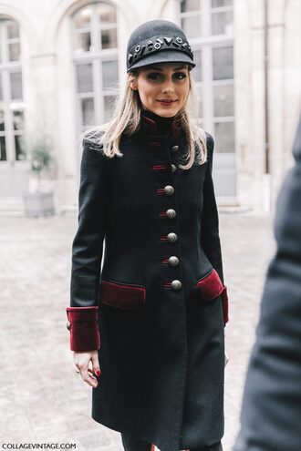 coat tumblr black coat military style hat black hat fashion week 2017 streetstyle olivia palermo