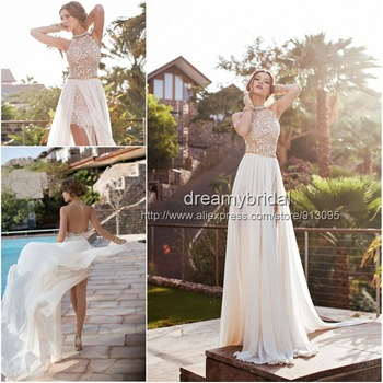 Aliexpress.com : Buy Best Quality!! 2014 New Arrival Sexy High Neck Beaded Top White Chiffon Prom Dresses Long Open Back For Special Occasion Dresses from Reliable dress neck suppliers on Suzhou dreamybridal Co.,LTD