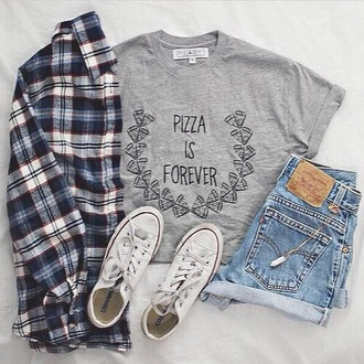 t-shirt pizza grey grey t-shirt forever quote on it pizza is forever