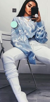sweater,blue,camouflage,white,boots,tumblr,tumblr outfit,outfit,jumper,jeans