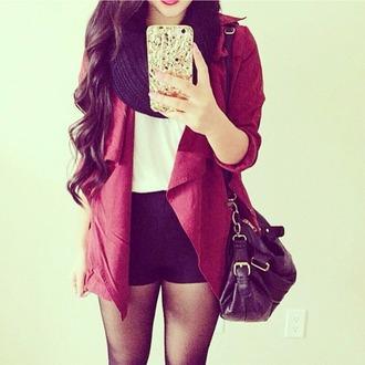 coat red jacket black bag black scarf white t-shirt shorts jacket scarf bag purse/iphone case