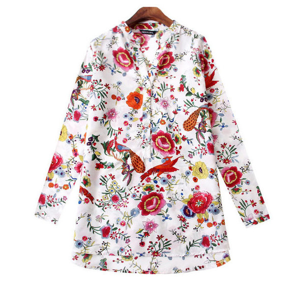 birds top blouse bright blouse birds print button blouse multicolor top colorful floral print