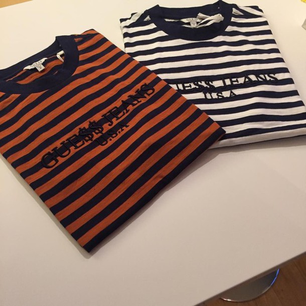 0cfb622167 shirt, guess, stripes, striped top, t-shirt, black and white, brown ...