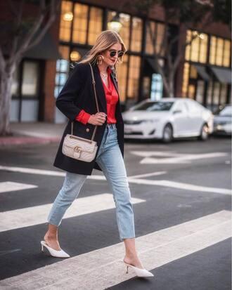 shoes tumblr mules white shoes blazer black blazer denim jeans blue jeans cropped jeans bag chain bag top red top sunglasses