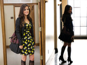 dress,cute dress,bag,aria montgomery,edgy,pretty little liars,floral dress,black,yellow