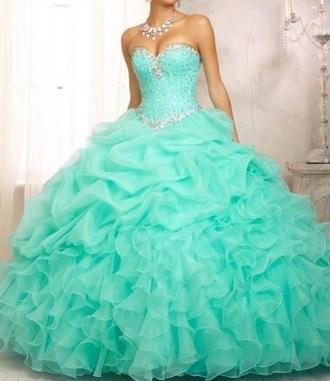 dress prom dress teal dress ball gown dress