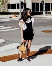 romper,bag,tumblr,dungarees,overalls,short overalls,black overalls,sneakers,handbag,top,white top,ruffle,summer outfits