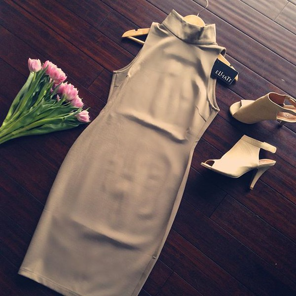dress elliatt neutral neutral colors khaki bodycon dress tight sleeveless sleeveless dress elegant chic classy clothes business professional feminine sexy sexy dress revolve clothing revolve designer dress robe court sans manche neutre turtleneck