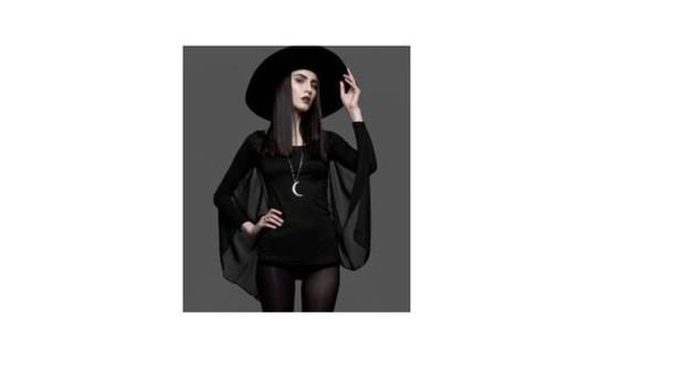 blouse goth sheer black dark black blouse bat wing sleeves top dress romper jumper