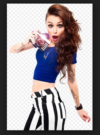 pants blue shirt black and white pants camera jewels shirt cher lloyd top blue crop top crop tops blue top celebrity striped pants hairstyles