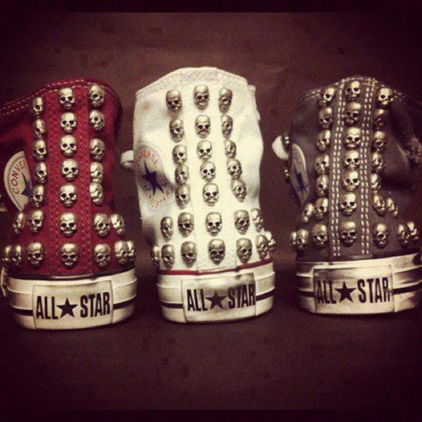 dac289103544 shoes cloths death dead all star converse red blue with white love  halloween skull skull black
