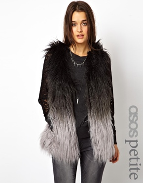 ASOS Petite | ASOS PETITE Exclusive Faux Fur Gilet In Dip Dye at ASOS