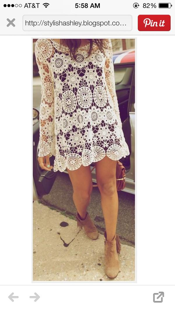blouse white crochet long-sleeve dress / blouse