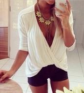 blouse,white,top,jewels,draped,drapped,draped back