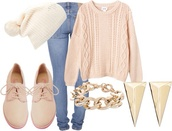 sweater,hat,shoes,jeans,jewels,pom pom beanie,pastel pink