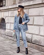 hat,tumblr,fall outfits,fisherman cap,denim,denim jacket,jeans,blue jeans,cropped jeans,boots,black boots,ankle boots