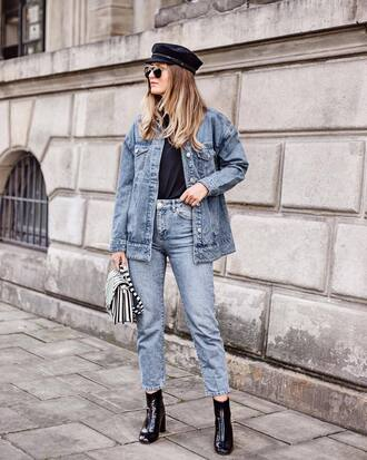hat tumblr fall outfits fisherman cap denim denim jacket jeans blue jeans cropped jeans boots black boots ankle boots