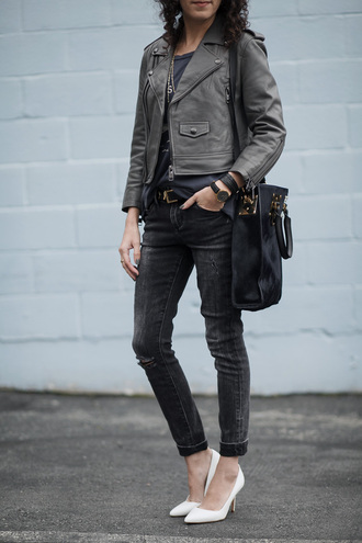 alterations needed blogger leather jacket ripped jeans black leather bag