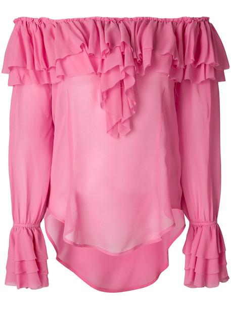 Twin-Set blouse ruffle women purple pink top