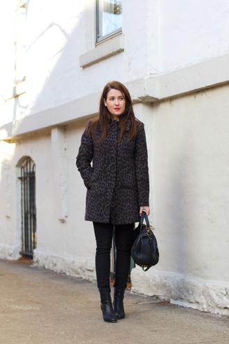 leopard print blogger jeans bag coat sequins and stripes make-up