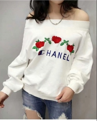 sweater chanel tumblr girly white sweatshirt off the shoulder jumper embroidered