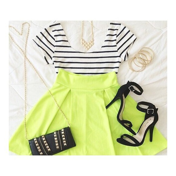 blouse skirt neon yellow