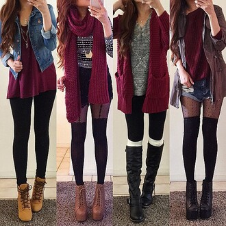 scarf burgundy red burgundy scarf thigh highs boots platform lace up boots denim jacket leggings cardigan cute girly rinasenorita tights shoes