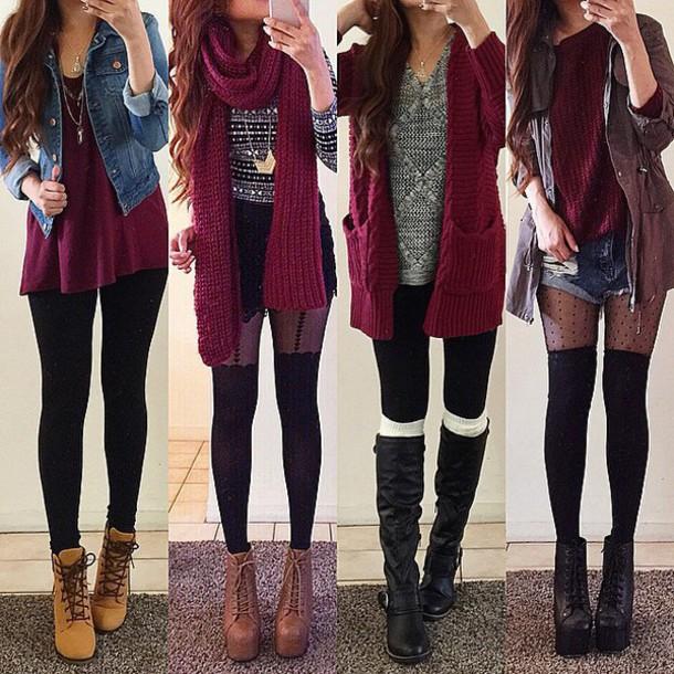 scarf, burgundy, red, burgundy scarf, thigh highs, boots ...