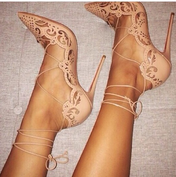 nude skin heels love sexy beautiful shoes shoes heels strap heels beige cream pointed toe nude strapped tie nude heels nude high heels strappy pumps straps red bottom high heels 2015 lace up stilettos tumblr lace up heels